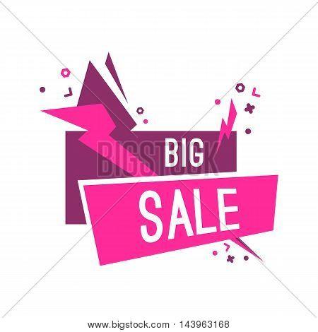 Colorful advertising flashed big sale banner, vector flat illustration
