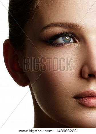 Beautiful Woman Face With Bright Make Up Eye With Sexy Liner Mak