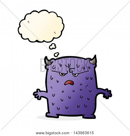 cartoon little alien with thought bubble