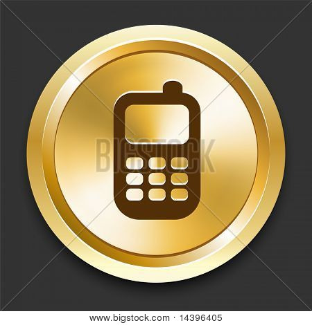 Cell Phone on Golden Internet Button Original Illustration