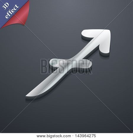Sagittarius Icon Symbol. 3D Style. Trendy, Modern Design With Space For Your Text Vector