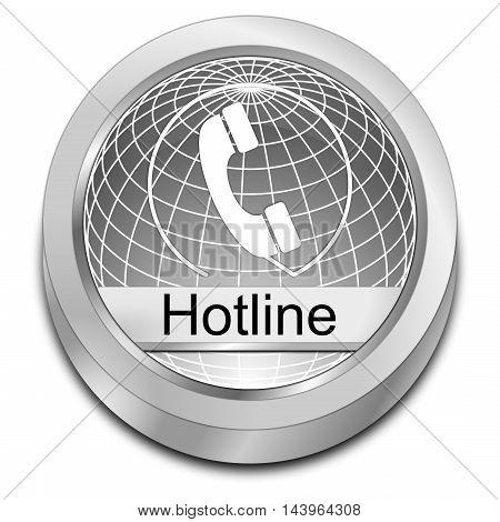 decorative silver Hotline Button - 3D illustration