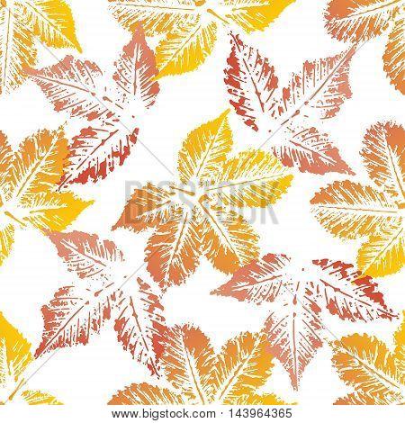 Yellow orange chestnut leaves imprints seamless pattern on white background