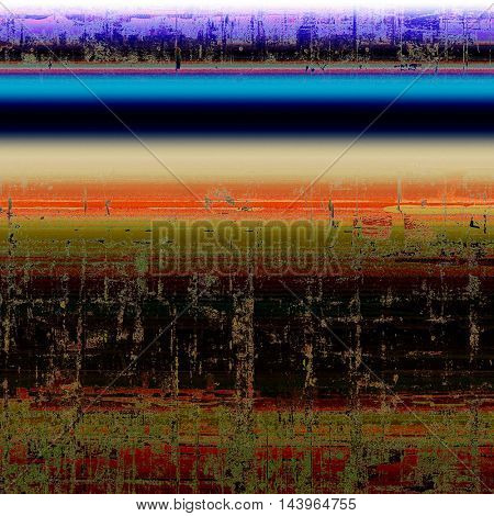 Highly detailed scratched texture, aged grungy background. Vintage style composition with different color patterns: green; blue; red (orange); brown; black; pink