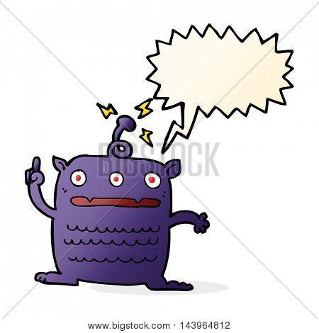 cartoon weird little alien with speech bubble