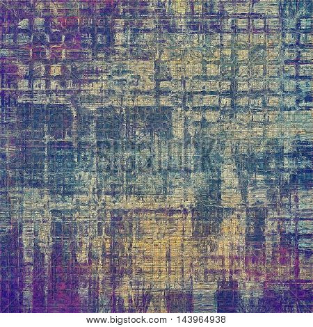 Old style decorative composition or designed vintage template with textured grunge elements and different color patterns: gray; blue; purple (violet); yellow (beige); cyan