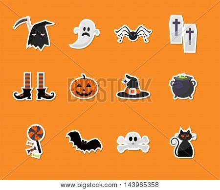 set of Halloween holiday sticker icons. vector illustration