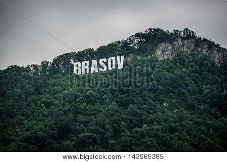 Brasov sign on Tampa mountain in Brasov city in Romania