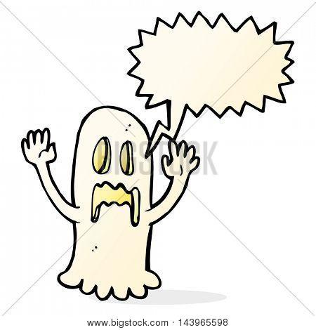 cartoon spooky ghost with speech bubble