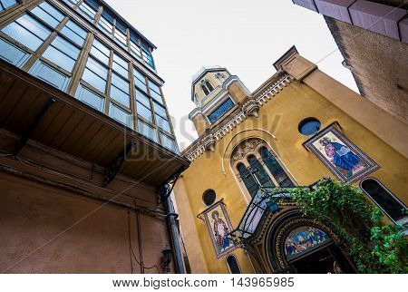 Orthodox Assumption Church seen from courtyard in Brasov city in Romania