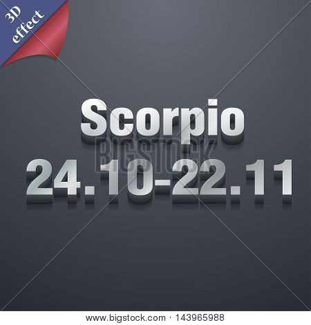 Scorpio Icon Symbol. 3D Style. Trendy, Modern Design With Space For Your Text Vector