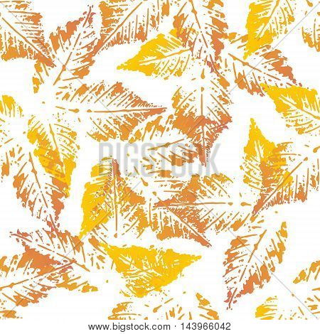 Yellow orange chestnut leaves imprints seamless pattern on white background