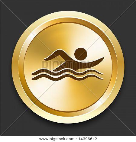 Swimming on Golden Internet Button Original Illustration
