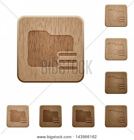 Set of carved wooden folder options buttons in 8 variations.