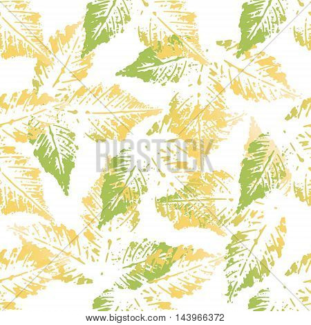Yellow green chestnut leaves imprints seamless pattern on white background