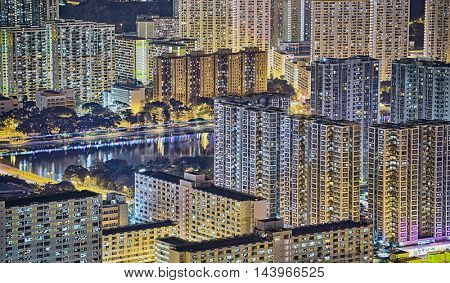 hong kong night , downtown area
