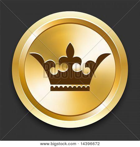 Crown on Golden Internet Button Original Illustration