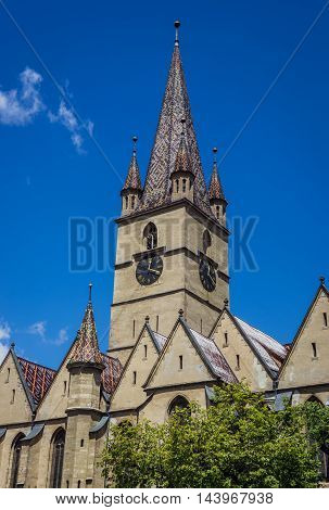 Saint Mary Lutheran Cathedral in Sibiu city in Romania