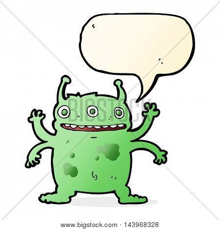 cartoon alien monster with speech bubble