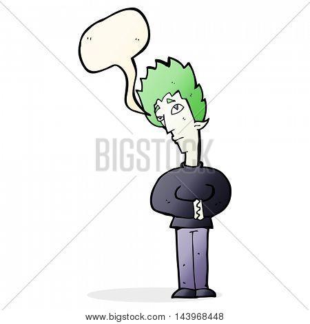 cartoon curious vampire with speech bubble