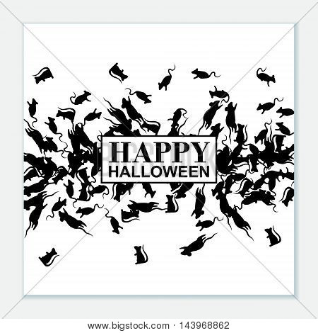 Happy Halloween poster with black rats. Vector background.