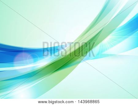 Abstract Colorful Wave Background. Bright Shining Sun. Summer Or Spring Background. Wave Background