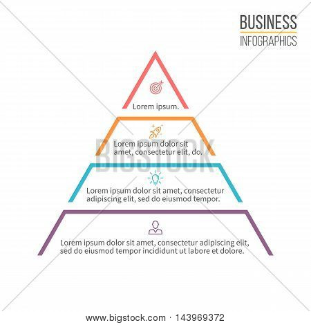 Pyramid, triangle with 4 steps, levels. Vector design element.