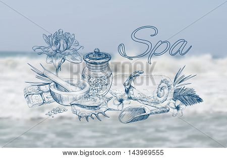 Spa treatment banner with lotus, shell and flowers on see background. Graphic sketch style.Design for cosmetics, store, spa and beauty salon, organic health care products. With place for text. Vector.