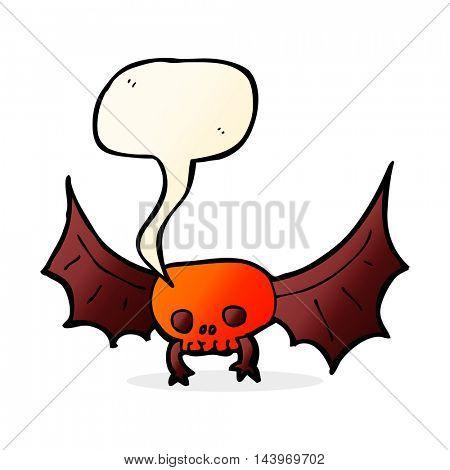 cartoon spooky skull bat with speech bubble