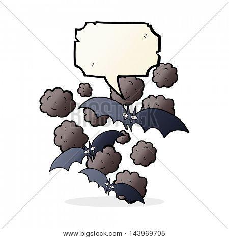 cartoon vampire bats with speech bubble