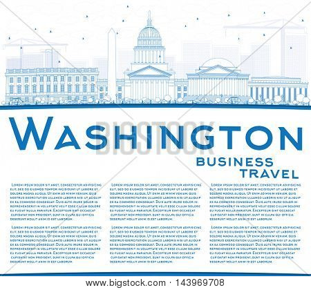 Outline Washington DC Skyline with Blue Buildings and Copy Space. Vector Illustration. Business Travel and Tourism Concept with Historic Buildings. Image for Presentation Banner Placard and Web Site.