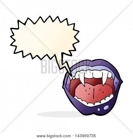 cartoon vampire mouth with speech bubble