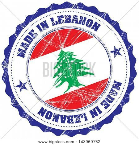 Made in Lebanon grunge rubber stamp with flag