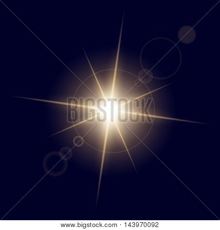 Creative concept Vector set of glow light effect stars bursts with sparkles isolated on blue background. For illustration template art design, banner for Christmas celebrate, magic flash energy ray.