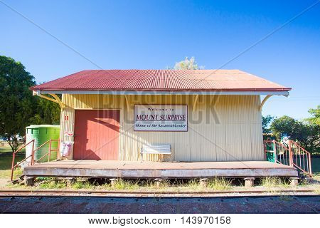 Mount Surprise railway station which hosts the Savannahlander train in rural Queensland, Australia