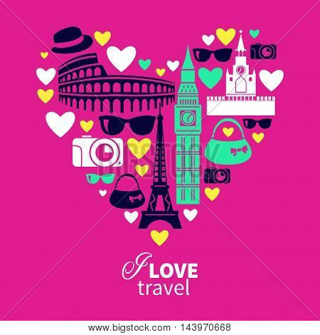 Traveling love. Heart shape with travel icons