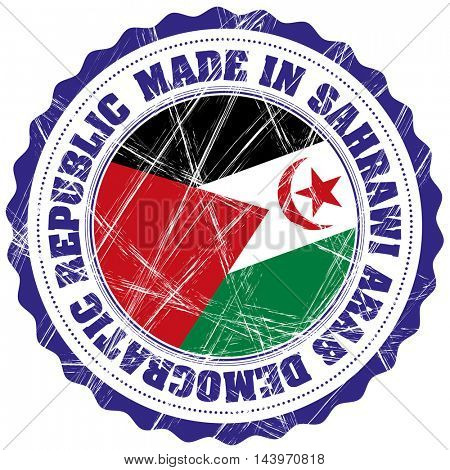 Made in Sahrawi Arab Democratic Republic grunge rubber stamp with flag