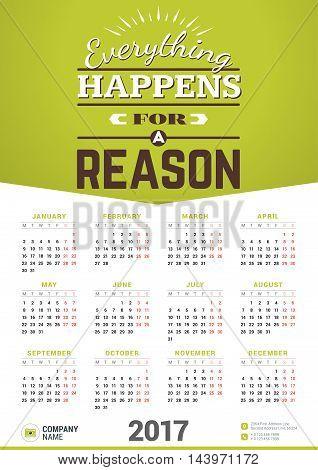 Wall Calendar Motivational Poster For 2017 Year