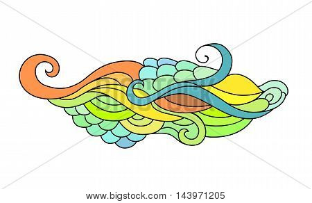 Colorful zentangle doodle sketch. Tattoo sketch. Ethnic tribal wavy vector illustration on white background.