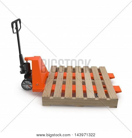 Pallet truck with wooden pallet isolated on white background 3D Illustration