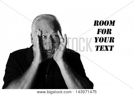 A man is Scared or Frightened. Isolated on white in black and white.