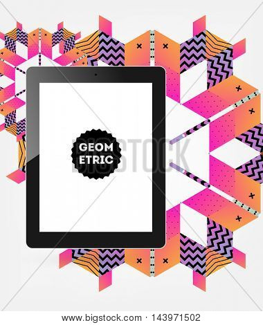 Tablet PC with geometric abstract background, vector