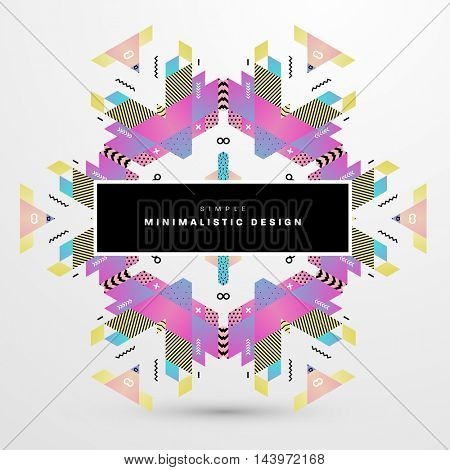 Trendy geometric flat pattern, frame with abstract background for brochure, flyer or presentations design, vector illustration.