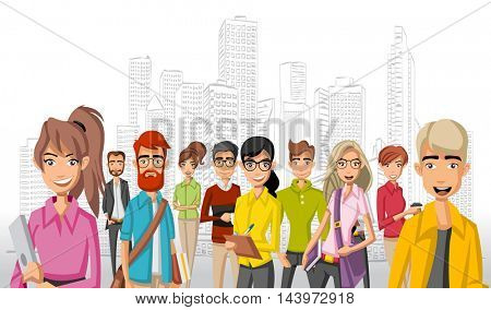 Group of cartoon business people in the city