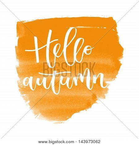 Hello autumn hand written inscription on orange banner watercolor background