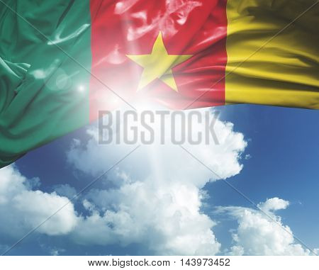 Cameroon flag on a beautiful day