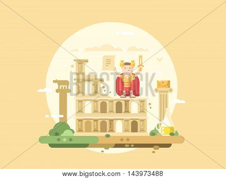 Rome city flat. Colosseum building and caesar with a sword. Vector illustration