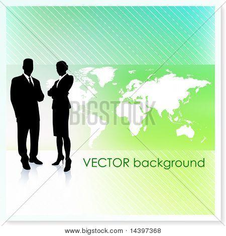 Equipe de negócios com mapa-Vector fundo ilustração Original