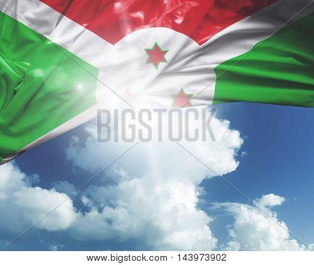 Burundi flag on a beautiful day