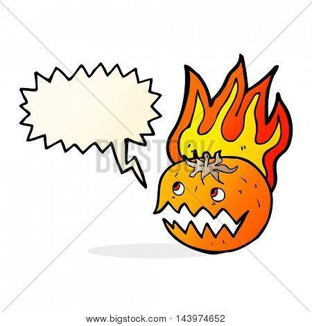 cartoon flaming pumpkin with speech bubble
